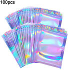 100Pcs Clear Holographic Laser Seal Bags Eyelashes Package Storage Pouch Packing