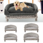Handmade Natural Wicker Raised Cat Dog Sofa Couch Pets Sleep Nesting Basket Beds