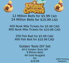 Animal Crossing:New Horizons Bells, Nook Miles Tickets, Fish Bait, Golden Tools