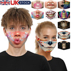 3D Printed Unisex Funny Face Mask Mouth Protection Cover Washable Reusable UK