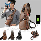Men's Shoulder Bag Sling Chest Pack Canvas Usb Charging Crossbody Handbag B2ae