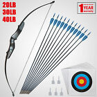 Archery Takedown Recurve Bow 57in. 20 30 40lbs Right Hand with 12pc Arrows