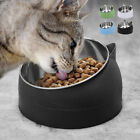 400ml Cat Bowl Raised No Slip Stainless Steel Elevated Stand Tilted Feeder #Wem
