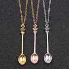 1pcs Trendy Creative Tiny Tea Spoon Crown Pendant Necklace Sweater Chain Jewelry