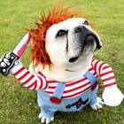 Dog holding knife Chucky Doll Funny Halloween Costume Cut Dogs Multiple Sizes