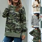 Women Winter Camo Long Sleeve Pullover Jumper Casual Loose Sweatshirt Blouse Top