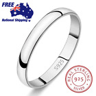 Genuine 925 Sterling Silver Solid 3mm Thin Classic Plain Band Wedding Ring