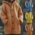 Coat Jackets Pockets Sweater Knitted Cardigan Jumper Womens Winter Chunky Ladies