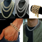 Mens Iced Out Cuban Link Chain Hip Hop Diamond Bling Necklace Jewellery Bracelet