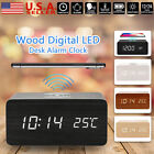 Best Wooden Wood Digital LED Desk Alarm Clock Thermometer Qi Wireless Charger US