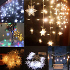 LED Snowflake Curtain Window Fairy String Lights Christmas Party Xmas Decor HOT