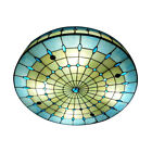 Tiffany Flush Mount Ceiling Light Stained Glass Drum Retro Chandelier Lamp