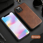 Slim Leather Phone Case for iPhone 12/iPhone 12 Pro/iPhone 12 Pro Max-Brown Blac