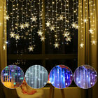 LED Snowflake Fairy String Lights Curtain Window 8 Modes Christmas Party Decor