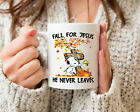 Fall For Jesus He Never Leaves Snoopy In Auturm Mug Thanks Giving Cup Thankful