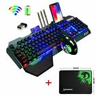 US Gaming Keyboard Mouse,Rainbow Backlit Wireless Rechargeable Keyboard Mouse
