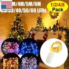2/4/8Pack 20-60LEDs Xmas String Lights Copper Wire Waterproof Fairy Micro Lights
