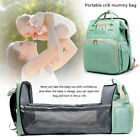 Large Mummy Bag Maternity Nappy Diaper Crib Folding Baby Bed Backpack Waterproof