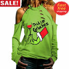 Women Sweatshirt Top Printed Letter Drink Up Grinches Hand Cutout Cold Shoulder