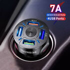 48W 7A Car Charger 4 USB Ports LED Fast Charging QC 3.0 Cigarette Socket Adapter