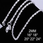 Wholesale 925 Sterling Solid Silver 2mm Snake Rope Chain Men Necklace 16-24 Inch