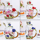 Crystal Glass Enamel Rose Flower Red Tall Drinking Tea Cup Set Juice Coffee Mugs