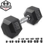Rubber Coated Hex Dumbbell Hand Weights, 5 to 50 lbs - Workout Strength Training