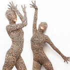 Plus Full Bodyhose Bodystocking Leopard Print Gloves Mask Zentai Anti-Hook Hood