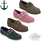Ladies Boat Shoes Leather Deck Lightweight Lace Flat Comfortable Summer UK 4-8