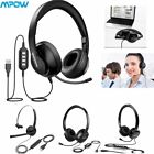Mpow Headset USB 3.5mm Wired Headphones Mic For Computer PC Laptop Phone Calling