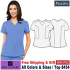 Med Couture Scrub PEACHES Women's New Double V-Neck Top