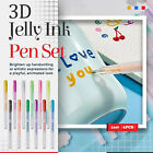 1Set 3D Glossy Jelly Ink Pen 12 Colors For School Glossy Ink Gel Pens 0.6MM 5ML