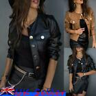 'Women Motorcycle Pu Leather Biker Jacket Coats Ladies Short Parka Outwear Tops