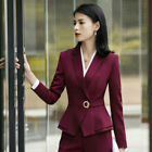 2 Piece Set Lady Formal Office Uniform Business Suits Career Trousers and Blazer
