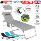 Outdoor Sun Lounger Chair Folding Recliner Garden Adjustable Patio Sunshade UK