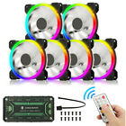 6 Pack RGB LED Quiet Computer Case PC Cooling Fan 120mm With Remote Control