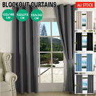 2 X Blockout Curtains Blackout Window Curtain Draperies Pair Eyelet For Bedroom