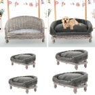 Handmade Natural Wicker Pet Bed Raised Cat Dog Sofa Couch Cushion Optional