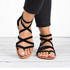Women Flat Sandals Summer Holiday Ladies Ankle Strappy Flip Flop Gladiator Shoes