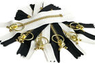"""YKK #5 Brass Metal Zipper with Notch Ring Pull Close-End Black White 4"""" to 11"""""""