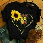 Sunflower  Butterfly You Are My Sunshine My Only Sunshine Ladies T-Shirt Cotton