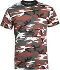 MENS T-SHIRT RED CAMO ARMY URBAN COTTON ★S,M,L,XL,XXL