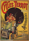 CYCLES TERROT DIJON AUTOMOBILES TUNNEL CAR TRAIN FRENCH VINTAGE POSTER REPRO