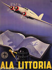 AIRPLANE ALA LITTORIA TRAVEL WORLD MAP BOOK COMPASS ITALIAN VINTAGE POSTER REPRO
