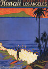 AMERICA HAWAII SURF FROM LOS ANGELES BEACH SPORT TRAVEL VINTAGE POSTER REPRO