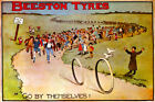 BEESTON TIRES PNEUS GO BY THEMSELVES BICYCLE BIKE SPORT VINTAGE POSTER REPRO