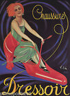 DRESSOIR SHOES WOMAN RIDING ON  RED SHOE FASHION FRENCH VINTAGE POSTER REPRO