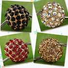 10pc Gold Plated Crystal Round Spacer Bead Charm AC333