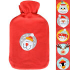 Thermotherapy Christmas Hot Water Bottle With Embroidered Motif Red Fleece Cover