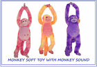 PLUSH LONG ARM MONKEY CUDDLY TOY **WITH MONKEY SOUND** WITH VELCRO FASTENER 60CM